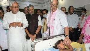 Bihar Chief Minister Nitish Kumar visits Shri Krishna Medical College and Hospital (SKMCH) to review the situation prevailing due to Acute Encephalitis Syndrome (AES), in Muzaffarpur, Bihar, on Tuesday, June 18, 2019.((Photo by Santosh Kumar / Hindustan Times))