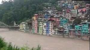 Torrential rain damaged road infrastructure in North Sikkim. (Photo ANI)