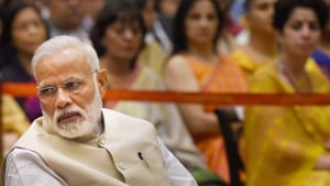 A Lok Sabha MP said the prime minister stayed at the dinner venue for about 10-15 minutes and then left as he has to go to Ranchi tomorrow to attend the Yoga Day programme.(HT Photo)