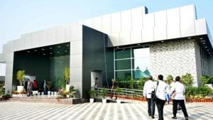Praja Vedika, a sprawling hall, was constructed in 2017 by the previous TDP government at a cost of Rs 5 crore to enable Naidu to meet people who came to meet him and submit representations to him on various grievances.(HT PHOTO)