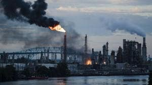 Flames and smoke emerge from the Philadelphia Energy Solutions Refining Complex in Philadelphia on Friday(AP Photo)