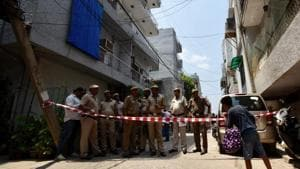Vasant Apartments in Vasant Vihar where a couple and their maid was found murdered Sunday morning.(Burhaan Kinu/HT Photo)