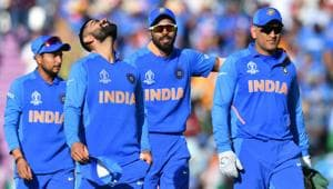 India's captain Virat Kohli (2L) celebrates with teammates Kuldeep Yadav (L) India's Hardik Pandya (2R) and Mahendra Singh Dhoni (R) after victory in the 2019 Cricket World Cup group stage match between India and Afghanistan at the Rose Bowl in Southampton, southern England, on June 22, 2019(AFP)