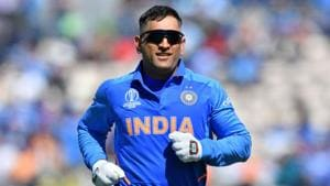 India's Mahendra Singh Dhoni runs on the pitch during the 2019 Cricket World Cup group stage match between India and Afghanistan at the Rose Bowl in Southampton, southern England, on June 22, 2019(AFP)