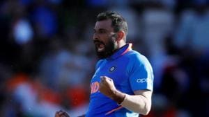 India's Mohammed Shami celebrates taking the wicket of Afghanistan's Mujeeb Ur Rahman to complete a hat trick and win the match(Action Images via Reuters)