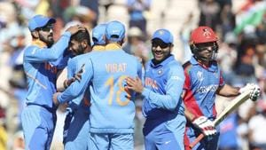 Southampton: India's Jasprit Bumrah, second left, celebrates with teammates the dismissal of Afghanistan's Rahmat Shah, right, during the Cricket World Cup match between India and Afghanistan at the Hampshire Bowl in Southampton, England, Saturday, June 22, 2019(AP)