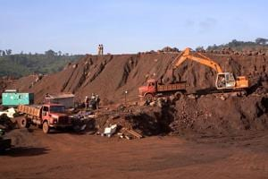 Trucks are loaded with iron ore at an iron ore mine in Kheonjar, Odisha.(BLOOMBEGR NEWS FILE PHOTO)