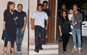 Iulia Vantur and Salman Khan at Arbaaz Khan's residence on Sunday.(Varinder Chawla)