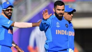 India's captain Virat Kohli celebrates after victory in the 2019 Cricket World Cup group stage match between India and Afghanistan at the Rose Bowl in Southampton, southern England, on June 22, 2019(AFP)