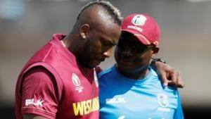West Indies Andre Russell goes off injured.(Action Images via Reuters)