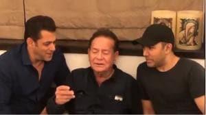 Salman Khan and Salim Khan sing Suhaani Raat Dhal Chuki together.(Instagram)