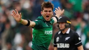 Shaheen Afridi appeals successfully for the wicket of New Zealand's Tom Latham(Action Images via Reuters)