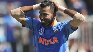 India's Hardik Pandya reacts after a close dismissal possibility of West Indies' Nicholas Pooran.(AP)