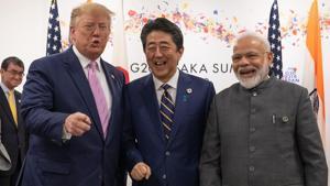 Prime Minister Narendra Modi, US President Donald Trump and Japan Prime Minister Shinzo Abe started their trilateral in Osaka.(Bloomberg)