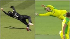 Martin Guptill and Steve Smith take outstanding catches during ICC World Cup match between Australia and New Zealand.(Screen Grab)