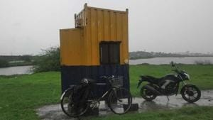 Cabins have been installed near Uran wetlands for the security guards.(HT Photo)