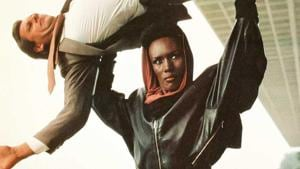 Grace Jones in a still from A View to a Kill.