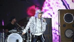 Singer Miley Cyrus performs on the final day of Glastonbury Festival at Worthy Farm, Somerset, England.(Joel C Ryan/Invision/AP)