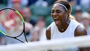 Serena Williams reacts during her women's singles first round match.(AFP)