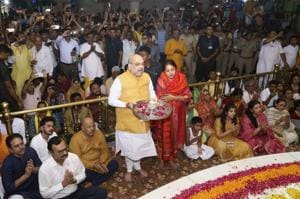 Union Home Minister Amit Shah, along with his wife Sonal Shah, performed the 'Mangala Aarti' on Thursday morning at the historic Jagannath Temple here, to kick-start the annual Gujarat Jagannath Rath Yatra that coincides with the Puri festival.(PTI)
