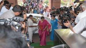Union Finance Minister Nirmala Sitharaman arrives at Parliament House to present the Union Budget in New Delhi on Friday.(Mohd Zakir/HT Photo)