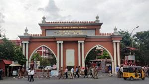 Tamil Nadu, July 05 (ANI): Security personnel keep guard at the Madras High Court as the Live convict of Rajiv Gandhi assassination S. Nalini being granted a 30 days parole in Chennai on Friday. (ANI Photo)