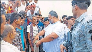 Former MP Pappu Yadav interacts with villagers during his visit to KGBV hostel on Saturday.