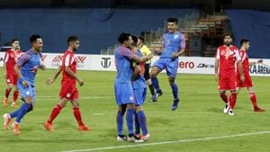 Players of Indian team celebrate first goal against Tajikistan (In Red) during the Hero Intercontinental Cup 2019 match in Ahmedabad.(PTI)