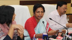 State welfare minister Louis Marandi along with her department officials addressing a press conference at Soochna Bhawan in Ranchi, India, on Monday, July 8, 2019.(Diwakar Prasad/ Hindustan Times)