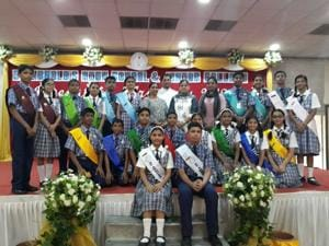 The newly-elected student council members of St Arnold's High School and Jr college, Andheri.(HT Photo)