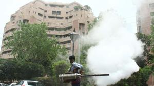 The MCG has deployed 16 workers and 26 fogging machines—two vehiclemounted and the rest handheld—across the city.(HT File Photo)