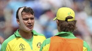 Australia's Alex Carey with a bandaged face in the ICC World Cup semi-final against England.(AP)