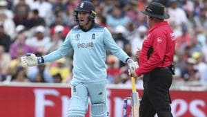 England's Jason Roy gestures to the umpire after he was given out.(AP)
