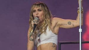 US singer Miley Cyrus performs at the Glastonbury Festival of Music and Performing Arts on Worthy Farm.(AFP)