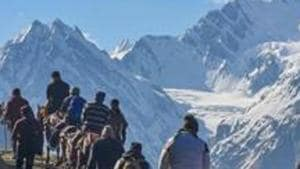 The Amarnath Yatra was suspended on Saturday with no pilgrim allowed to move towards the Kashmir Valley from Jammu due to a separatist-called protest shutdown(PTI)