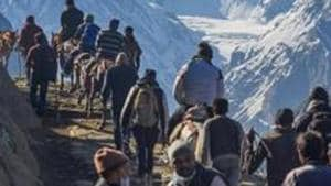 As many as 12 batches of pilgrims have so far left for the twin base camps of Pahalgam and Baltal in Kashmir valley from Jammu since the beginning of the pilgrimage on June 30.(PTI)