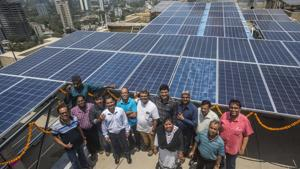 Residents of Dheeraj Dreams complex installed solar panel at Bhandup, Mumbai, April 14(Pratik Chorge/HT Photo)