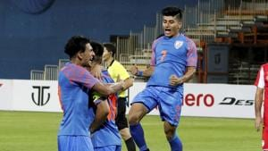 Players of Indian team celebrate first goal.(PTI)