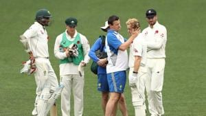Daniel Fallins of CA XI passes a concussion test after being hit on the helmet by a delivery from Craig Overton of England during day four of the four day tour match between the Cricket Australia XI and England at Adelaide Oval on November 11, 2017 in Adelaide, Australia.(Getty Images)