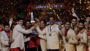File image of members of Bengaluru Bulls celebrating with the winners trophy.(AP)