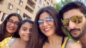 Sushmita sen with boyfriend Rohman Shawl and her daughter in Armenia.