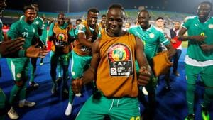Senegal's Sadio Mane and teammates celebrate after the match.(REUTERS)