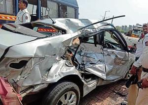 Police said the group was travelling in a Hyundai Verna, which they suspect belongs to Mehta.(HT Photo)