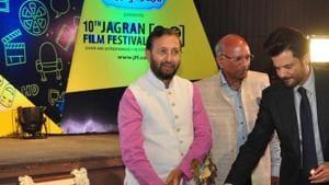 New Delhi: Union Environment Minister Prakash Javadekar and actor Anil Kapoor during inauguration of 10th Jagran Film Festival (JFF) in New Delhi on July 18, 2019. (Photo: IANS)(IANS)