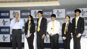 The Team India members which came up to the Semi-Finals in Mini Worlds Chennai 2019 debating tournament in Chennai, India, on Sunday, July 21, 2019.(Gnanamani / Hindustan Times)