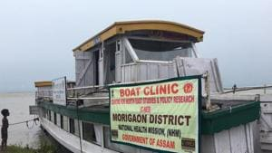Boat clinic s have come to the respite of the people in Morigaon which has been severely hit by the floods.(Sadiq Naqvi/HTPhotos)