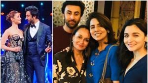 Alia Bhatt and Ranbir Kapoor with their respective mothers, Soni Razdan and Neetu Singh in London.(Instagram)
