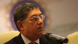 MUMBAI, INDIA - SEPTEMBER 19, 2011: BCCI president N Srinivasan during the press conference at BCCI head quarters at Wankhede Stadium on Monday. (Photo by Kunal Patil/Hindustan Times via Getty Images)(Hindustan Times via Getty Images)