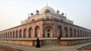 Humayun's Tomb is one of the two Delhi monuments that will remain open till 9 pm to attract more visitors.(Biplov Bhuyan/HT PHOTO)