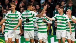File image of players of Celtic Football Club celebrating after scoring a goal.(Action Images via Reuters)